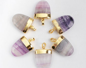 1Pieces Gold Plated Natural Shield Multi-Color Fluorite Faceted Pendant Bead Gemstone Jewelry Necklace Pendant Making jewelry G0532