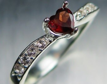 0.40cts Natural Garnet Spessartines Dark Red with orange hint heart cut & pink garnets sterling 925 silver engagement ring all sizes