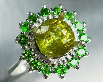 2.05ct Natural Titanite sphene canary yellow round cut & chrome diopside Sterling 925 Silver engagement ring all sizes