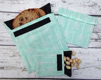 Reusable Snack and Sandwich Bags, Reusable Snack Bag Set of Three, Snack Bags