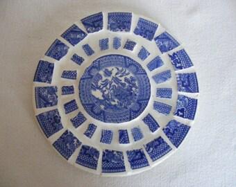 Broken China Mosaic Hot Pad Flow Blue Transferware Oriental Motif