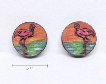 Flamingo Sunset Earrings (Handmade, woodburned, and painted on Birch)