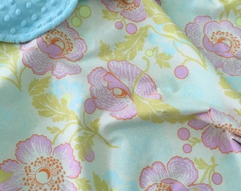 Baby Girl Blanket ~ Cotton & Minky Baby Blanket ~ Toddler Blanket ~ Shabby Chic Nursery ~ Amy Butler ~ Midwest Modern ~ Fresh Poppies Linen
