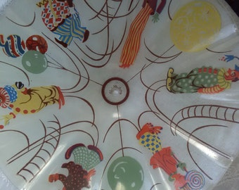 Vintage Circus Clown Trapeze Ceiling Glass Dome Light Shade Nursery