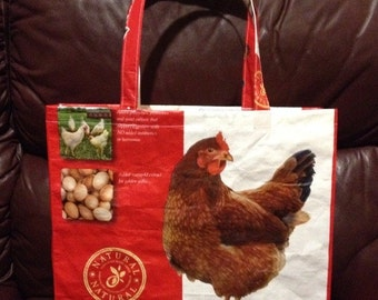Repurposed Nutrena chicken feed bag tote GROCERY BAG