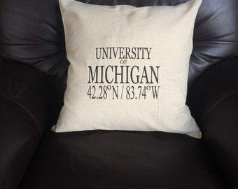 Custom, embroidered, nautical, decorative pillow, latitude, longitude, coordinates