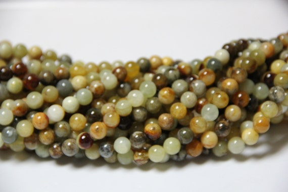 "Flower Jade 8mm smooth round beads 16"" length full strand"