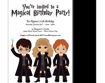 Harry Potter Party Invitation - Harry Potter Birthday Invitation - Harry Potter Birthday Invite - Wizard friends - Harry Hermione Ron