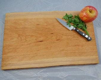 Cherry wood serving tray / cutting board / bread board / sushi tray with natural live edge Ready to Ship