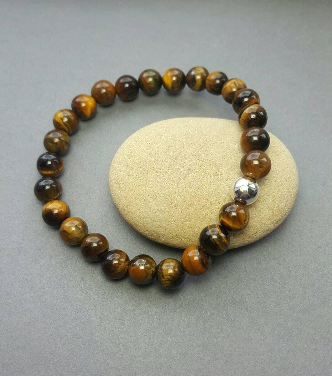 mens tiger eye bead bracelet sterling silver bead surf