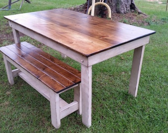 """5' Farm Table with matching 4"""" bench"""