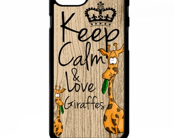 Keep calm and love giraffes cute funny cartoon quote phrase cover for iphone 4 4s 5 5s 5c 6 6s plus SE phone case