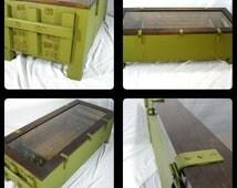 Mosin Nagant Coffee Table,Crate Table,Repurposed Coffee Table,man Cave, 7.62x54r, Up-cycled, Vintage,Display Case gun rack,wood storage box