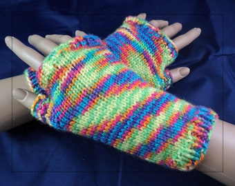 Rainbow Handknit Fingerless Gloves. Gauntlet. Wristlet. Wrist-Warmers. Arm Warmers. Cosplay. One size fits most.