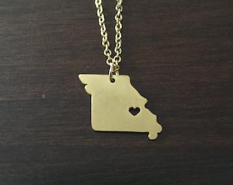Missouri Necklace, Missouri, gold Missouri necklace, Missouri jewelry, gold Missouri jewelry, state necklace, state, necklace, gold necklace