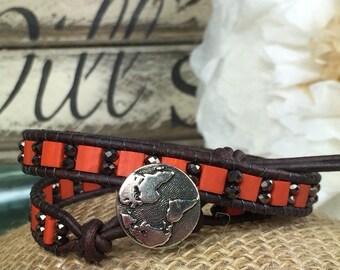Orange Brick and Bronze World Atlas Leather Wrap Bracelet