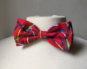 Red Colorful Pen Bowtie, school supplies, pre-tied bowties