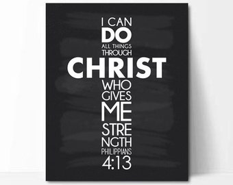 """I can do all things through Christ, Philippians 4:13 Chalkboard Print (8x10"""") - Unique Inspirational Gift, Scripture Quote Art"""