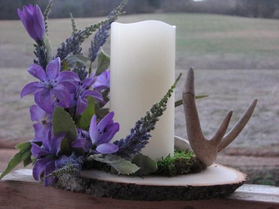Rustic deer antler centerpiece lilac silk floral arrangement