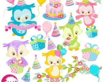 Owl clipart, Birthday Owl clipart, Birthday Party Clipart, Birthday Clipart, Owl party Clipart, Commercial Use, AMB-1186