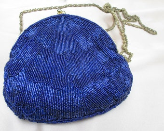 Vintage Walborg Royal Blue Beaded Evening Bag