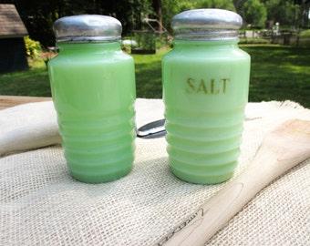 Vintage Jeannette Jadeite Salt and Pepper Shakers