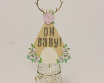 Oh baby Bohemian teepee centerpiece/ cake topper