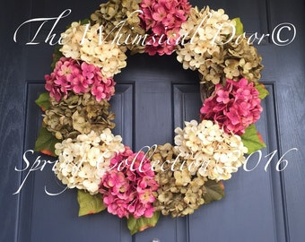 hydrangea wreath spring wreath front door wreath all season wreath