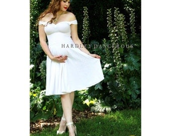 Couture Pinup MATERNITY Friendly Swing Dress, Multiway Stretch Knit Dress, by HARDLEY DANGEROUS, 1950s Rockabilly Pin Up Wedding