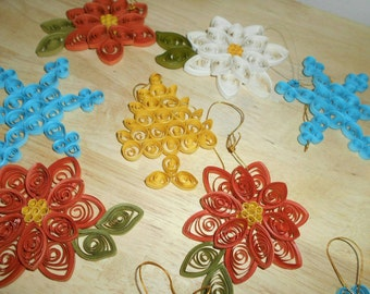 26 Spiral Paper Christmas Ornaments Snowflakes, Trees, Poinsettias, Snowman & Candy Cane