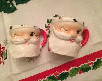 Vintage Christmas Santa Mugs Winking Japan Set of 2