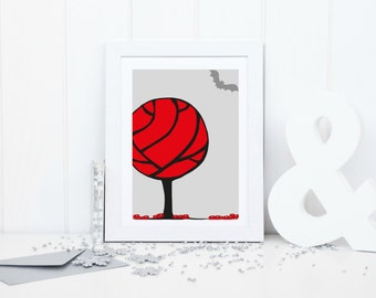 Fairytale printable art, tree printable art, fairytale nursery, bat nursery print, tree nursery print, red grey nursery decor