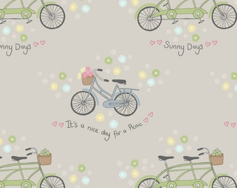 Lewis & Irene Patchwork Quilting Fabric Picnic in the Park A152.3 Bicycles on grey