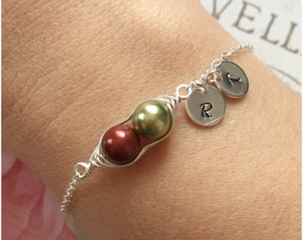 Personalized 2 Peas in a Pod Bracelet - PeaPod Bracelet Wrapped in Sterling Silver Wire - Custom Two Peas in a Pod with Hand Stamped Initial