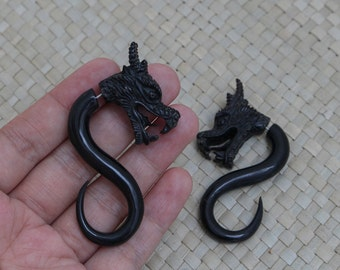 Dragon Fake Gauge Earrings, Dragon Horn Fake Piercing, Large Size Dragon Earrings