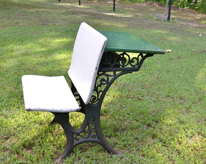 Antique Childrens School Desk Cast Iron and Wood Green White Painted Furniture Vintage Home Decor PanchosPorch