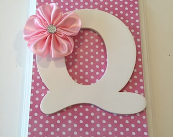 Initial Letter pink polka dot Hair Bow Holder and Organizer, first birthday gift, new baby gift, big sister gift