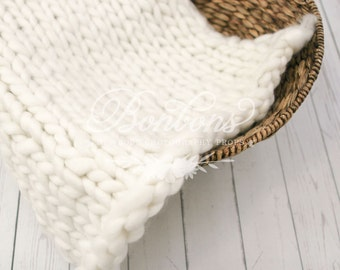White Newborn Blanket Basket Stuffer, Basket Filler, Newborn Photo Prop, Newborn Props, Wool Basket Stuffer, Photo Prop, RTS In stock