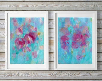 Abstract Painting - Original Pink Blue Acrylic Painting, Contemporary Canvas Art, Diptych Pink Blue Modern Wall Art, Wall Decor