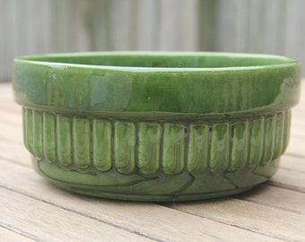Olive Green Glazed Haeger Pottery Bowl Planter
