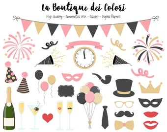 Pink and Gold New Years Clip art, Cute illustrations PNG, New Year, Party, Champagne, fireworks Clip art, Planner Stickers Commercial Use