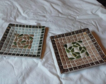 "Set of two 5"" Square Mosaic Trays"