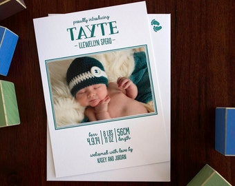 Letterpress Baby Announcement card - 50 custom designed flat A6 cards with envelopes