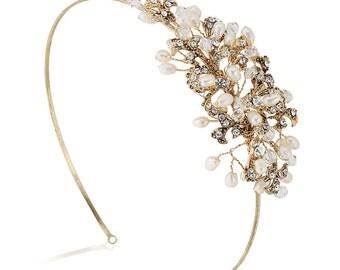 Antique Gold Freshwater Pearl & Diamante Wedding Headband