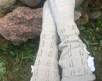 Knitted Lace Socks Knee Length gray Warm with Ornaments Knee high wool socks women's socks knit wool socks leg warmers