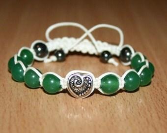 Green Aventurine Shamballa. Women's bracelet.