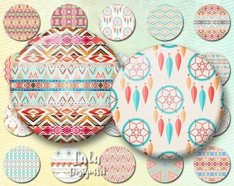 Digital Collage Sheet; Boho Circles, Bohemian digital images for pendants, bottlecap, button, magnets / 1 inch circle images, hippie digital