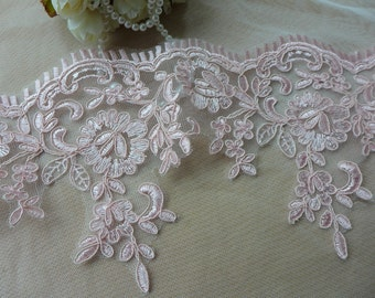 Pink lace trim, corded embroidered trim, bridal wear embellishment, for victorian & romantic projects