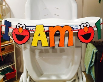 Elmo I Am 1 Highchair Banner, Or With Cookie Monster Sesame Street Birthday Decoration Party Banner Elmo