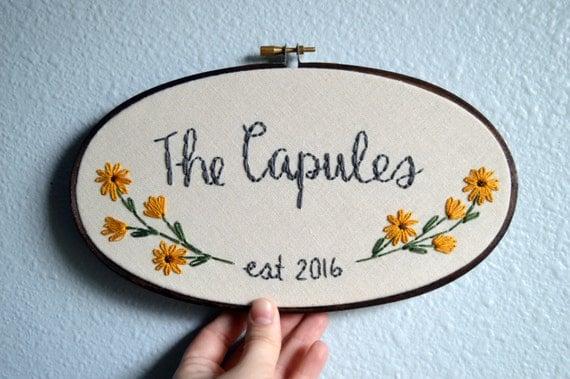 Custom wedding embroidery hoop anniversary gift oval